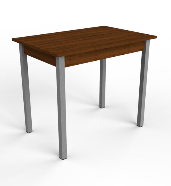 Metal framed dinner table with plastic coating