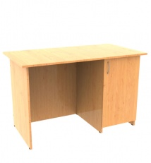 Single pedestal desk with door