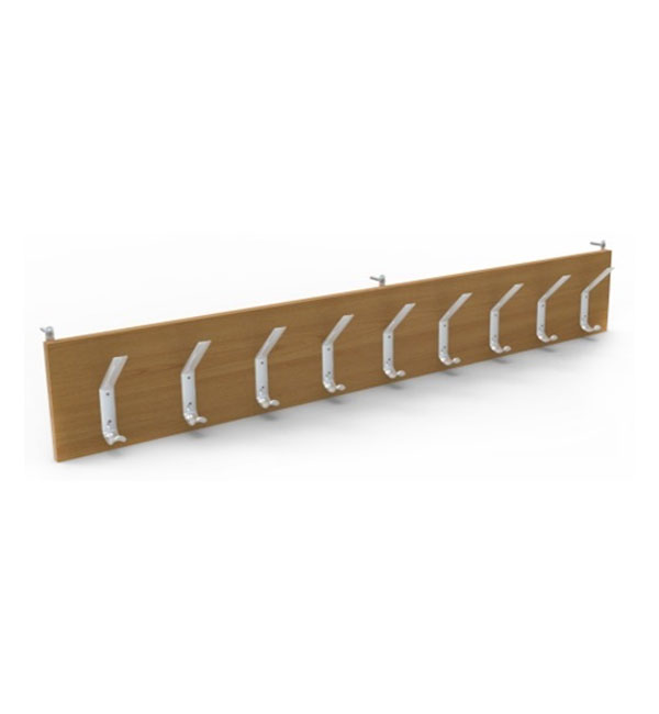 Wall mounted coat rack for 9 hooks