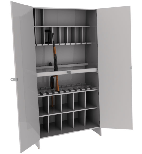 Pyramid cabinet for weapons